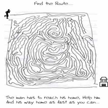 Find the route, Puzzle, Riddle, daily Cartoon