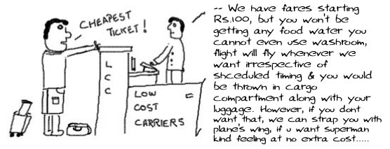 Low Cost Carriers, No frill airlines, india, air deccan, humor, satire, webcomics
