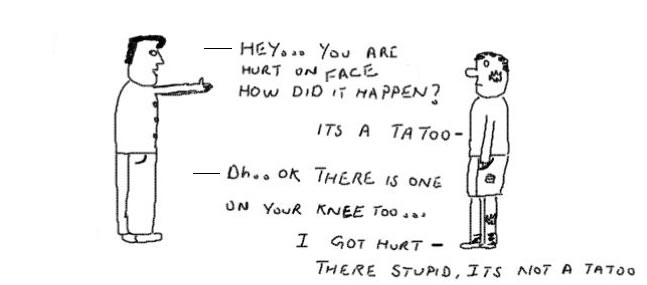 Tattoo Art, Body Art, funny, Humor, cartoons