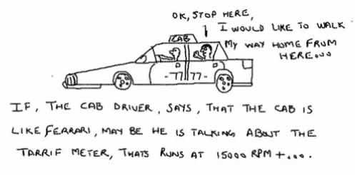 CabMeter,Taxi tarrif,car on hire,insane,ferrari rpm,jokes