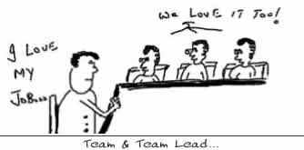 We too love your job,corporate work humor cartoons project manager team leader,