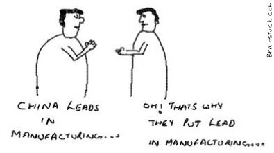 China Leads in Manufacturing cartoon,Lead content in products and plastic