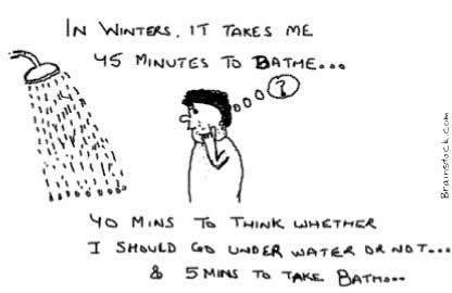 45 Minutes to Bath, Bathe, Shower, Winters , Cold, Hot, water, Shiver, Lazy, Bath time fear