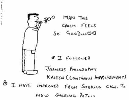 Kaizen or Continous Improvement,Smoking,Cigarettes,Pot,Crack,Marijuana,Drugs,Tabacco,Japanese Philosphy,Management cartoon