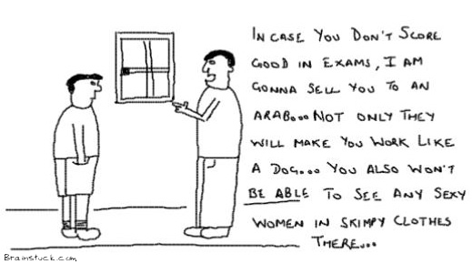 Score Good or Die,Examination Pressure from Parents,Do good or get sold to an Arab,Education toons