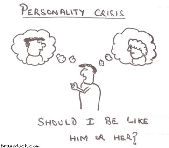 Personality Crisis,Should I be him or Her?, Inferiority Superiority Complex,People,cartoon