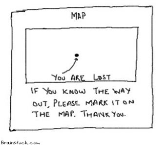 Map says You are lost,If you know the way out please mark it on the map,route,tracking