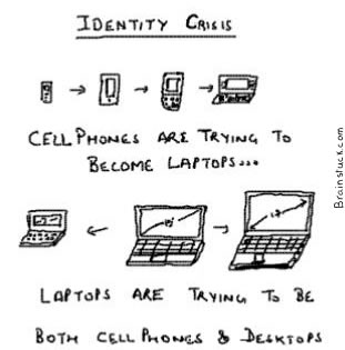 Identity Crisis-Cellphone want to become laptops, Notebooks want to become cellphones and desktops