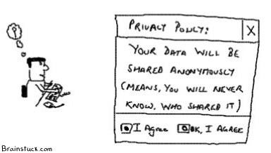 Sharing anonymous data, Privacy policy software Internet companies