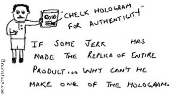Check Hologram,replica of product and hologram,Genuine,Authentic,Piracy