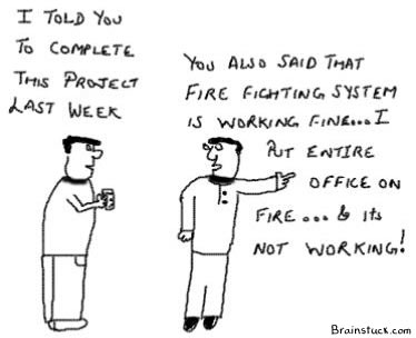 you also said that fire fighting system is working fine, I put office on fire and Its not working, cartoons