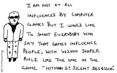 I would like to kill everyone who say that games influence people with W2000 Sniper rifle like the one in HITMAN 2: Silent Assassin, Gaming cartoons,Video Games, Violence