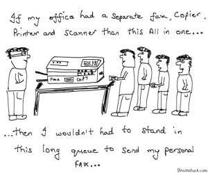 All in One, Using Office Printer Fax Copier for personal use,Long queue,Office stationary