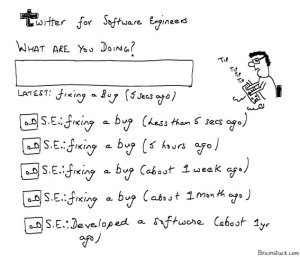 Twitter for Software Engineers, Cartoons, Fixing a bug,