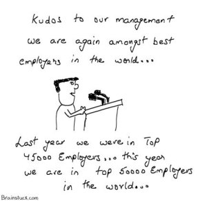 Our organization is amongst best employers in the world,Management cartoons, Satire