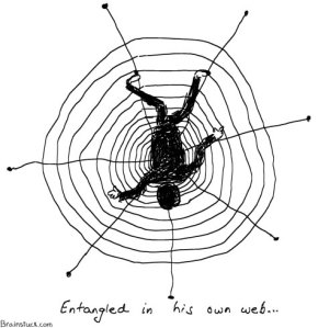 Entangled in his own web -life- people, Cartoons