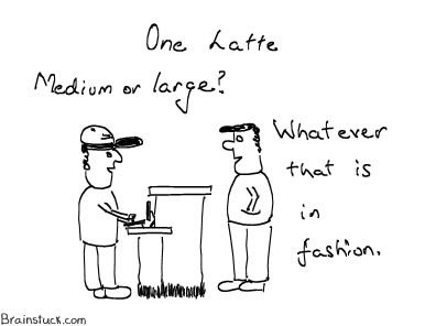 Cafe Latte - Medium or Large Coffee, Trend at coffee shops, Cartoon