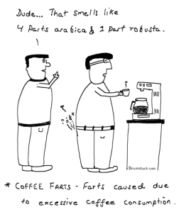 Coffee Farts  caused due to excessive coffee consumption,smell like arabica and robusta