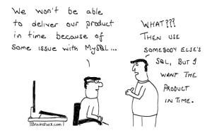 If MySQL is not working use Someone else,s SQL - Programming/Coding Cartoon, Software, Database,Insane