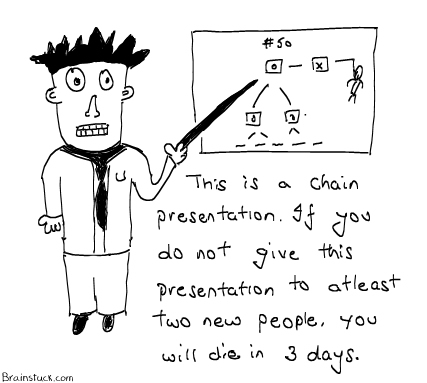 Chain Presentation - Die in 3 days if you don't present the cartoon to 2 new people,Insane cartoon