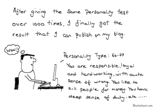 How come all bloggers have such a good personality I sometimes wonder, My first result was 1-2: Asshole.