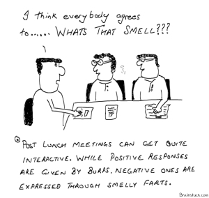 Post Lunch Meetings are quite interactive and smelly- Office Meetings, Work Cartoons