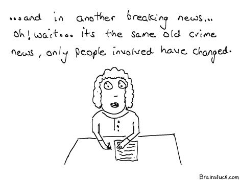 People Change Crime's don't, Breaking News cartoon, Same old news, Sansani Khez Khulasa