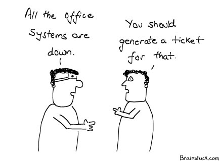 Trouble Ticket, Generating Support Ticket, Technology IT Cartoon, Management