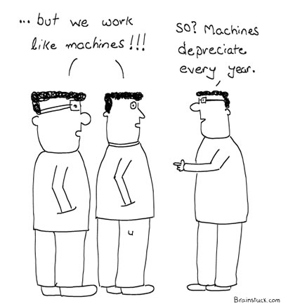 If you are working like a machine, you will be scrapped like one too, Machines at work, Office, Work, Management, Salary Hike, Pay Raise