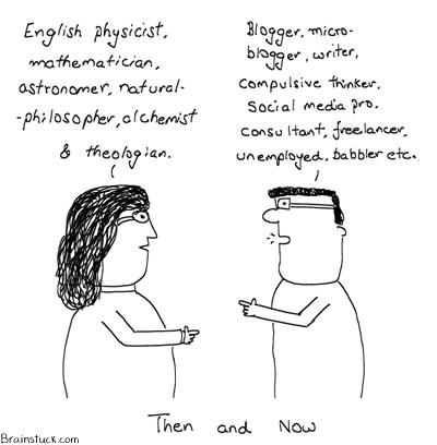 Isaac Newton, Bloggers, Blogs, Social Media, Twitter, Insane Cartoons