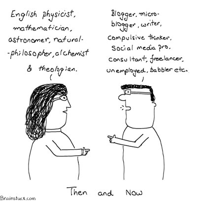 Isaac Newton, Bloggers, Blogs, Social Media, Twitter, Insane Cartoons