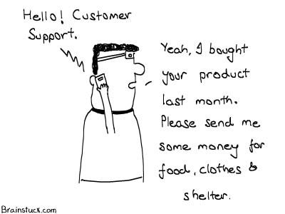 Customer Support, Insane Cartoon, Food Clothes Shelter, Warranty,