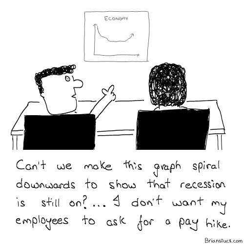 Graphs, Global Economy, Salary Pay Hike, Management Cartoons, Office, Work, Employer, Employees