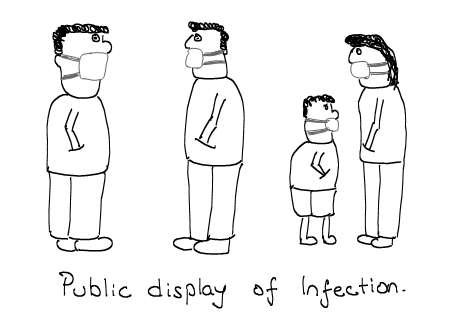Public Display of Affection, Swine Flu Masks and Infection, H1N1, Cartoons, Epidemic
