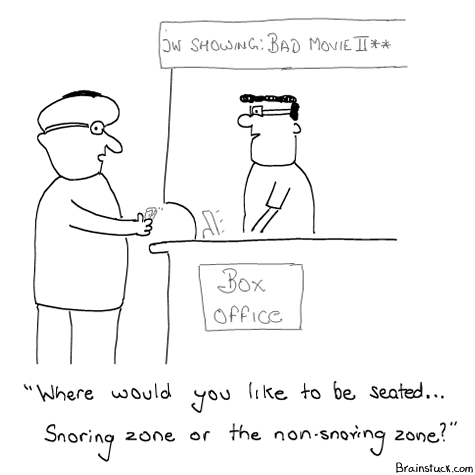 Snoring Zone or the non-snoring zone, Smoking Zones, Comics, Movies, Box Office Cartoons, Humor