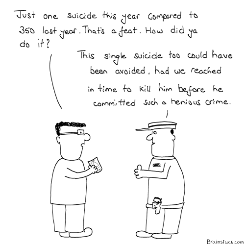 The Quick and the dead, Suicides, Victimless crime, Comics, Cartoons, Pressure, Life, Death, Examinations, Results, Funny, Humor