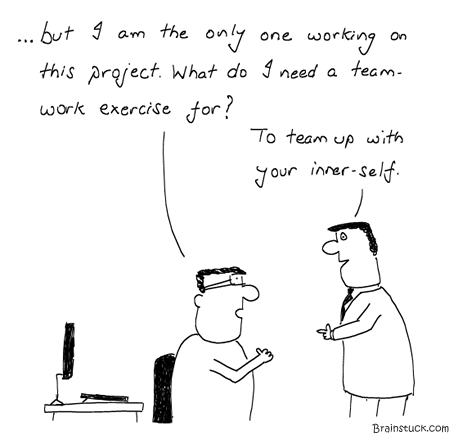Teamwork exercise, Team Building activities, Seminar, Trust Building, Comics, Cartoons, Team player, Toons, Inane, Management, Work, Office, Humor, Employees, Motivation, Self-Help