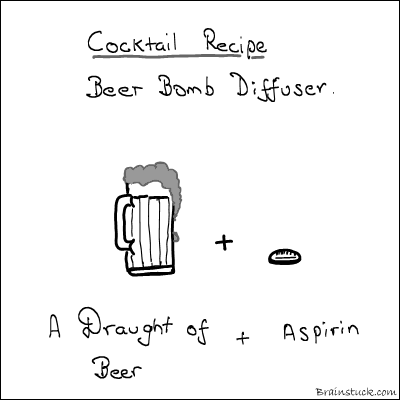 Hangover, Headache, Beer, Head Bombing, Splitting Headache, Alcohol, Cocktail, Draught, Keg, Medicine, Cure, Cartoon, Drunk, drink, whisky